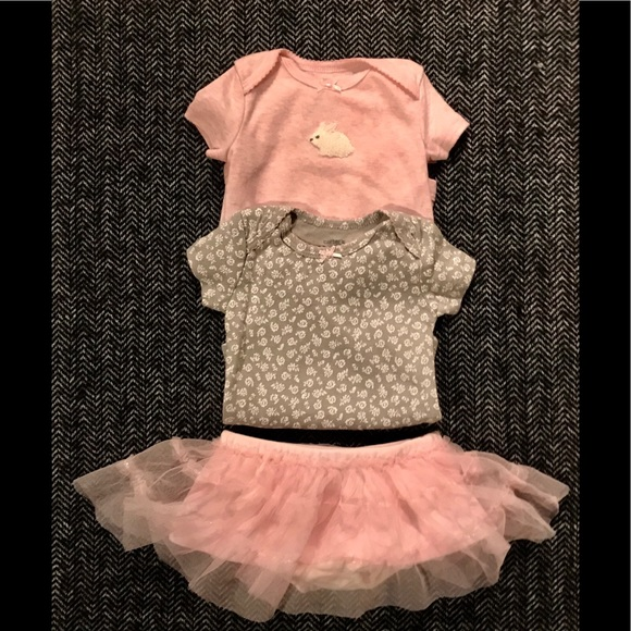Other - Two carters onesies and starting out tutu size 3M.